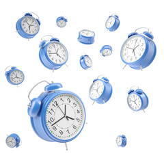 Watches alarm floating in the air, isolated on a white