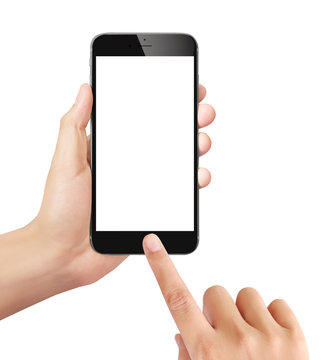 Man holding mobile smartphone