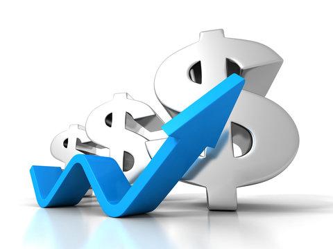Dollar Financial Success Bar Chart Graph Growing Up Arrow