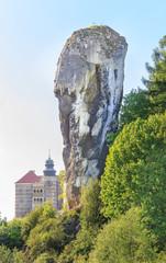 Fototapeta Maczuga Herkulesa,okolice Ojcowa, w tle zamek Pieskowa Skała obraz