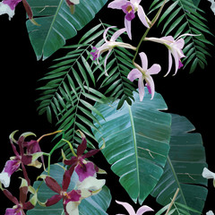 orchids exotic tropical pattern