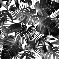 graphic palm leaves seamless background