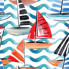 sailing boats watercolor seamless background