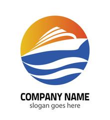 OceanShip - vector logo concept. Sea ship Vector logo template