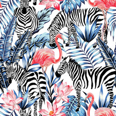watercolor flamingo, zebra and palm leaves tropical pattern