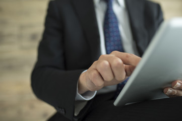 Businessman have an electronic tablet