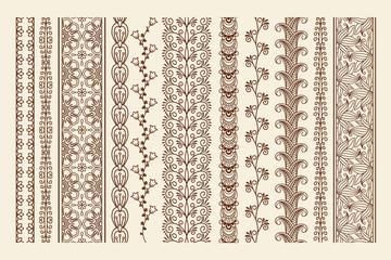 Hand drawn mehndi borders
