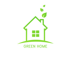 Eco house logo with green home and leaves concept