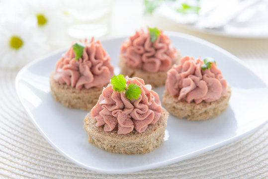 Festive appetizer: sandwich with pate