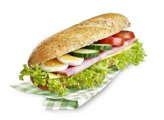 sandwich with clipping path isolated on white