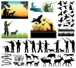 Fototapeta Hunting silhouettes and labels vector set
