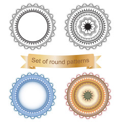 Set of round geometric ornaments isolated on a white background.