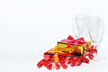 Glass and gift isolated on white background, Valentines day