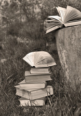 Vintage monochrome still life with pile of books