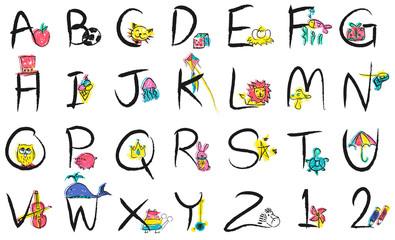 English Alphabet Letters Number Education Concept