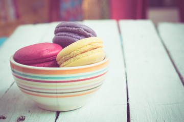 french macaroons with filter effect retro vintage style