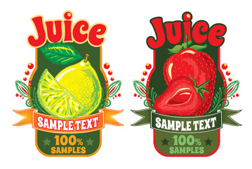set of templates for labels of juice