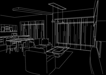 linear architectural sketch living-room black background