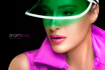 Gorgeous Woman in Green Sun Visor and Colorful Sportswear