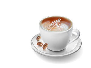 Cup coffee and seed on white background
