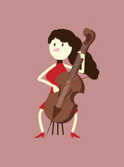 Red dress woman playing the cello. flat character design