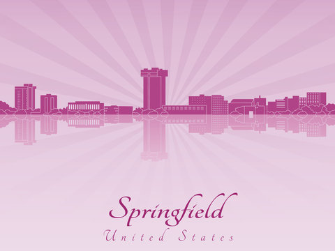 Springfield Mo skyline in purple radiant orchid