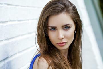 Portrait of young brunette woman