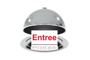 Photo sur Plexiglas Entree opened silver cloche with white sign entree