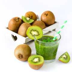 Green smoothie with kiwi white copy space background square imag