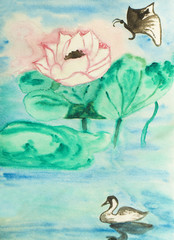 Lotus, butterfly and swan, painting