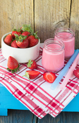 Smoothies with yogurt and strawberries. Fruit cocktail. Diet dri