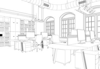 Entwurf modernes Büro im Loft