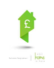 Real estate house logo as map pin concept with pound symbol