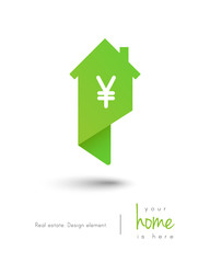 Real estate house logo as map pin concept with yen symbol