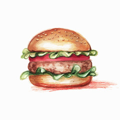 hamburger, drawn with colored pencils, in grunge style with spac