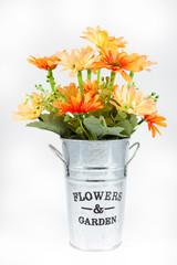 art flower in vase on isolate,die cut