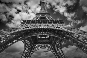 Eiffel tower black and white wide view