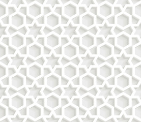 3D Islamic Geometric light grey pattern background