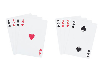 Four aces playing cards suits and four two playing cards suits