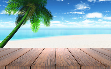 3D wooden table looking out to a beach with palm tree
