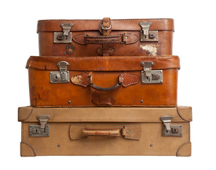 Three suitcases on white background, clipping path.