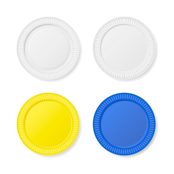 Disposable plates set Isolated