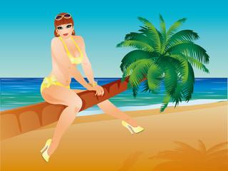 Summer pin up sexy girl, vector illustration