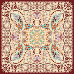 Paisley floral scarf design