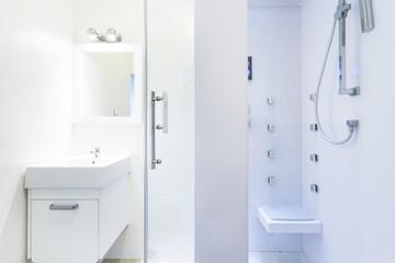 The bright bathroom in apartment