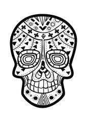 Black and white decorative skull
