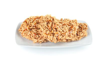 Rice cracker isolated on white background