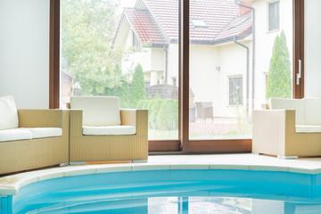 Swimming pool inside a modern residence