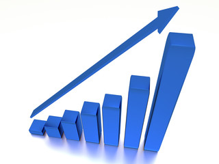 Graph with the growing progress and arrow