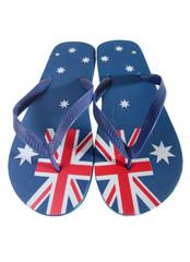 Australian thongs isolated on white